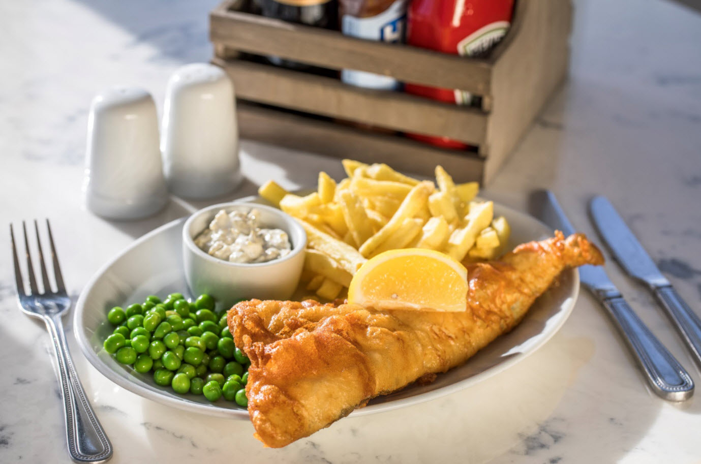 Cod Fillet in The Lobster Pot's own Beer Batter with Garden Peas with Tartare Sauce