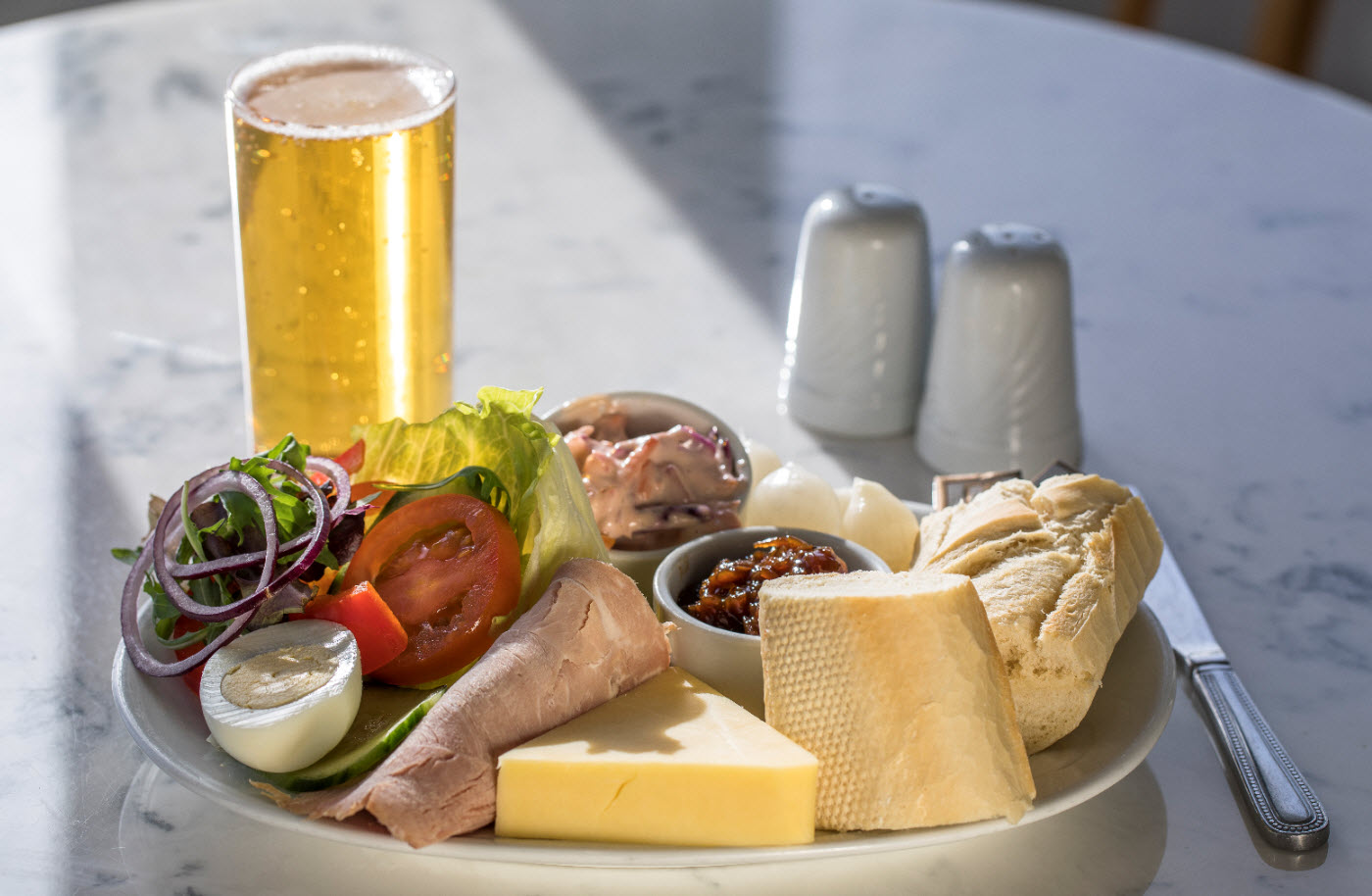 Mature Cheddar and Ham Ploughman's at The Lobster Pot